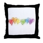 Watercolor Rainbow Hearts Throw Pillow