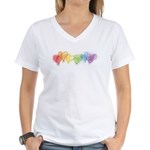 Watercolor Rainbow Hearts Women's V-Neck T-Shirt
