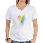 Rainbow Heart Women's V-Neck T-Shirt