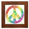 Rainbow Peace Symbols Framed Tile
