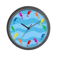 Rainbow Seahorses Wall Clock