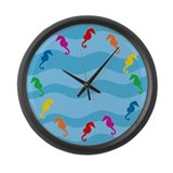 Rainbow Seahorses Large Wall Clock