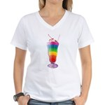 Rainbow Stripe Milkshake Women's V-Neck T-Shirt