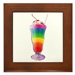 Rainbow Stripe Milkshake Framed Tile
