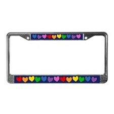 Rainbow Hearts License Plate Frame