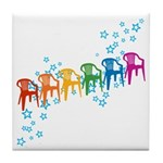 Rainbow Patio Chairs Tile Coaster