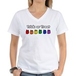 Rainbow Halloween Trick Or Treat Women's V-Neck T-