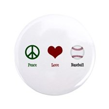 "Peace Love Baseball 3.5"" Button"