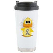 Grey Ribbon Duck Ceramic Travel Mug