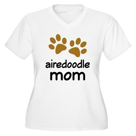 Cute Airedoodle Mom Women's Plus Size V-Neck T-Shi