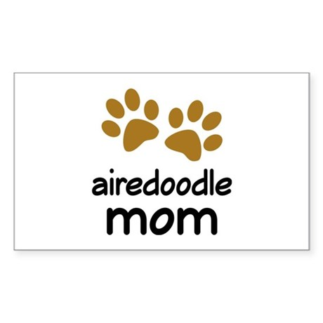 Cute Airedoodle Mom Sticker (Rectangle)