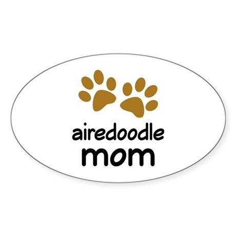 Cute Airedoodle Mom Sticker (Oval)