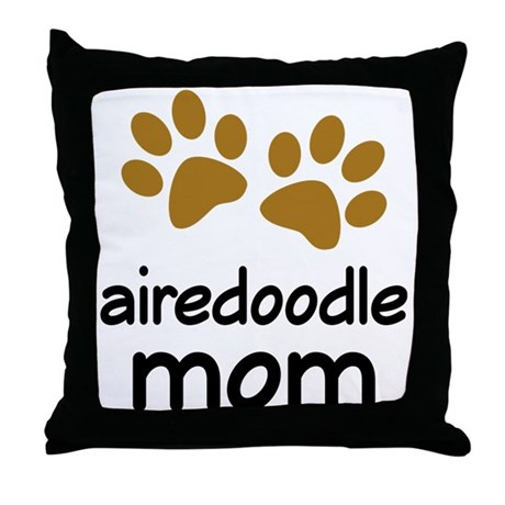 Cute Airedoodle Mom Throw Pillow