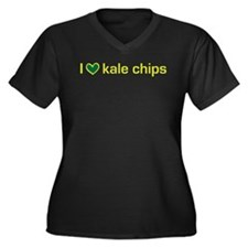 I heart kale chips Women's Plus Size V-Neck Dark T
