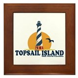 Topsail Island NC - Lighthouse Design Framed Tile