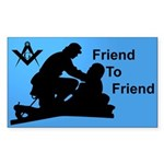 Masonic Friend 2 Friend Rectangle Sticker