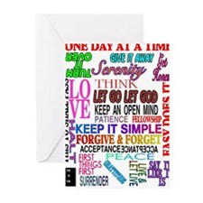 12 STEP SLOGANS IN COLOR Greeting Cards (Pk of 10)