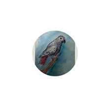 African Grey, Parrot, Mini Button (10 pack)