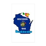 ILY Wisconsin Sticker (Rectangle 10 pk)