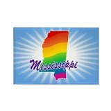 Gay Pride Rainbow Mississippi Rectangle Magnet
