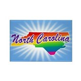 Gay Pride Rainbow North Carolina Rectangle Magnet