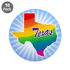 "Gay Pride Rainbow Texas 3.5"" Button (10 pack)"