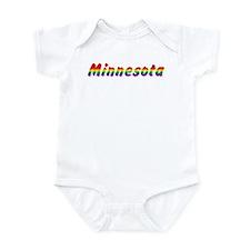 Rainbow Minnesota Text Infant Bodysuit