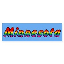 Rainbow Minnesota Text Bumper Sticker