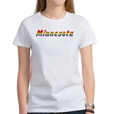 Rainbow Minnesota Text Tee