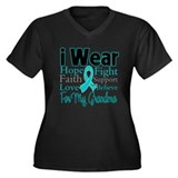 Grandma Ovarian Cancer Women's Plus Size V-Neck Da