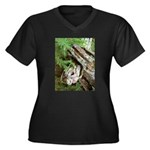 Old Wood Women's Plus Size V-Neck Dark T-Shirt