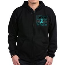 Wife - Ovarian Cancer Zip Hoodie