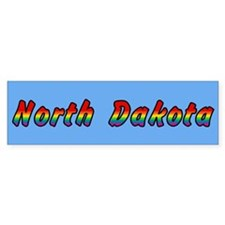 Rainbow North Dakota Text Bumper Sticker