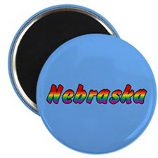 "Rainbow Nebraska Text 2.25"" Magnet (100 pack)"