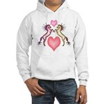 2 Rearing Horses / Hearts Hooded Sweatshirt