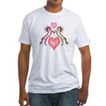 2 Rearing Horses / Hearts Fitted T-Shirt