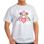 2 Rearing Horses / Hearts Ash Grey T-Shirt