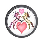 2 Rearing Horses / Hearts Wall Clock