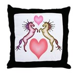 2 Rearing Horses / Hearts Throw Pillow