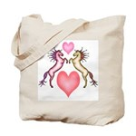 2 Rearing Horses / Hearts Tote Bag