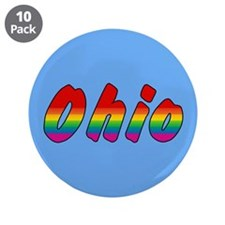 "Rainbow Ohio Text 3.5"" Button (10 pack)"