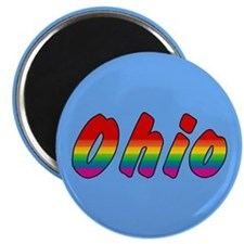 "Rainbow Ohio Text 2.25"" Magnet (10 pack)"