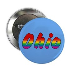"Rainbow Ohio Text 2.25"" Button (100 pack)"