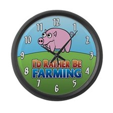PIG rather be farming Large Wall Clock