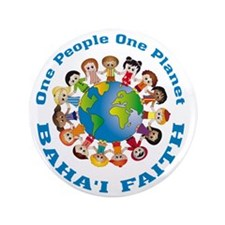 "One people One planet Baha'i 3.5"" Button (100 pack"