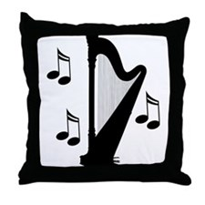 Musical Harp Throw Pillow