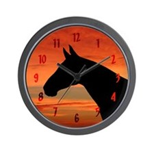 Horse Sunset Portrait Wall Clock