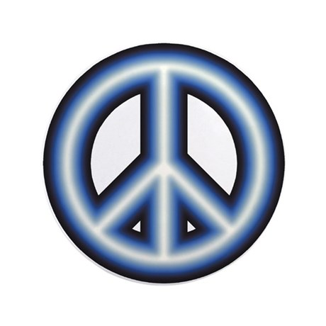 "Blue Peace Symbol 3.5"" Button"