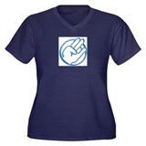 crystal blue Women's Plus Size V-Neck Dark T-Shirt