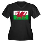 Welsh Flag Women's Plus Size V-Neck Dark T-Shirt